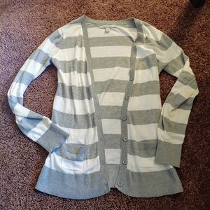 Old navy grey &white striped long open front cardi